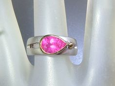 Pink Tourmaline Bezel Solitaire Band Ring Sterling Silver & 18kt Gold by Gemsbygigialonia on Etsy