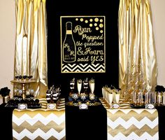 Gold and Black Party - Champagne - Bridal Shower   Lillian Hope Designs