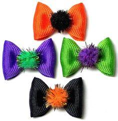 Halloween Fuzzies Dog Hair Bow, Orange, Purple, Green or Black