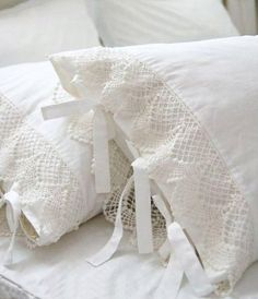 antique lace added to pillow cases