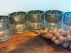 Cora Grapes and Columns Double Rocks Glasses. by VintageQuinnGifts