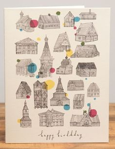 Birthday Houses   Red Cap Cards   Illustrated Greeting Card by Lizzy Stewart #line #drawings