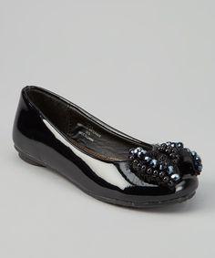 Look at this #zulilyfind! Black Patent Bead Flat by Laura Ashley #zulilyfinds