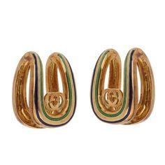 66a006e5c68 Gucci Vintage Enamel 18k Yellow Gold Cufflinks. Jewelry ...