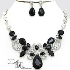 HIGH END BLACK CLEAR CHUNKY CRYSTAL PROM WEDDING FORMAL NECKLACE JEWELRY SET #Unbranded