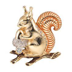 CIRO WALDHEIMAT brooch/squirrel Cirolit white, enamel brown, gold-plated