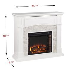 Southern Enterprises Ernesto Alexa-Enabled 46 in. Elektrischer Kamin in - The Home Depot, Electric Fireplace Media Center, White Electric Fireplace, Double Sided Electric Fireplace, Electric Fireplace Reviews, Wall Mount Electric Fireplace, White Fireplace, Farmhouse Fireplace, Faux Fireplace, Farmhouse Decor