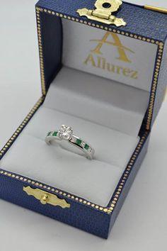Diamond & Genuine Emerald Vintage Bridal Set 14k White Gold (2.50ct)  - Allurez.com