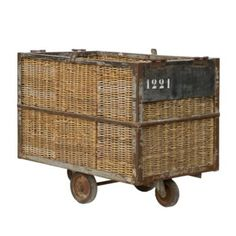 Antique Wicker & Metal Cart ~ Originally used in Belgian factories to transport linens and fabrics,