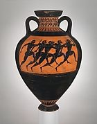 Attributed to a painter of the Princeton Group | Terracotta neck-amphora (jar) | Greek, Attic | Archaic | The Metropolitan Museum of Art