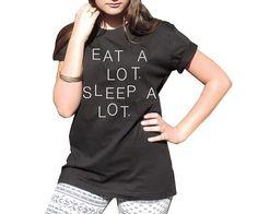 Essen Sie einem Menge Schlaf viel Tumblr Kleidung lustigen Text Crewneck Tee Lol t Shirt Shirt Black Boy girl XS-XL on Etsy, 12,01€