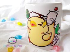 Fat Chocobo Mini ceramic Mug Final Fantasy Moogle от Animusrhythm