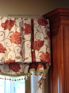 Stationary roman valance with contrast inset pleat