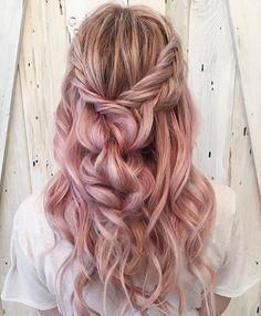39 Trendy + Messy & Chic Braided Hairstyles   Pastel braid half up half down hairstyle #halfuphalfdown #braids #hairstyles