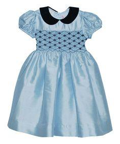 Loving this Light Blue Geometric Silk Dress - Infant, Toddler & Girls on #zulily! #zulilyfinds