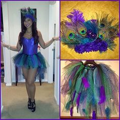 Shake your tail feathers.  What you need to do: Create a fan of peacock feathers to be attached to the back...