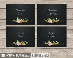 Chalkboard return address labels 225x075 text editable chalkboard floral bridal shower food labels by mypartydesign pronofoot35fo Images