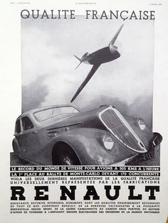 RENAULT poster, vintage advertising for the rally car Renault, original art deco ad, magazine retro poster A3 size, 1935 illustration print
