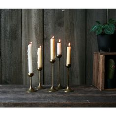 Set of Five Brass Candlestick Holders Bohemian Decor Varied Heights... (150 ILS) ❤ liked on Polyvore featuring home, home decor, holiday decorations, brass home decor and brass home accessories