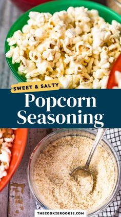 This popcorn seasoning is super simple to make and is an easy way to turn your popcorn into something special! It's the perfect balance of sweet and salty, and made with just 3 ingredients! #snack #popcornseasoning #sweetandsalty #kettlecorn #movienight #gamedaysnack Game Day Appetizers, Game Day Snacks, Game Day Food, Kettle Corn Seasoning Recipe, Popcorn Seasoning, Paleo Dessert, Vegan Desserts, Vegan Recipes, Homemade Kettle Corn