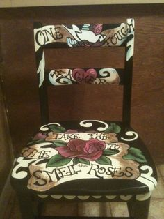 tattoo flash inspired painted furniture