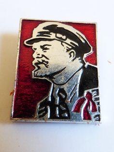 Vintage Original Political Russian USSR Lenin silver tone enamel lapel pin | eBay