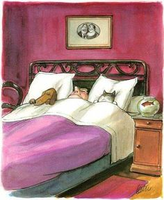 Illustration by Roger Tetsu of a man sleeping with his dog and cat (and they have the pillows! Animals And Pets, Cute Animals, Amor Animal, Image Chat, Tetsu, Photo Chat, Cat Dog, Sleeping Dogs, Whimsical Art
