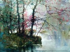 Landscape Paintings, Watercolor Trees, Artist At Work, Watercolor, Abstract Painting, Tree Painting, Painting, Watercolor Landscape, Beautiful Art