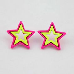 Pair of Chic Style Fluorescence Color Star Shape Stud Earrings, AS THE PICTURE in Earrings | DressLily.com