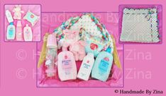 Baby hamper gift containing crochet baby blanket & essential toiletries (baby wipes, baby powder, baby lotion, baby bath, bottle & cuddly toy).  £45 exc. p