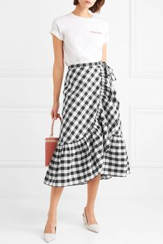 Shop on-sale Glo ruffled gingham cotton-poplin wrap skirt. Browse other discount designer Midi Skirt & more luxury fashion pieces at THE OUTNET Maxi Skirt Outfits, Dress Skirt, Simplicity Fashion, Gingham Skirt, Skirts For Sale, Business Casual Outfits, Ladies Dress Design, Poplin, Fashion Outfits
