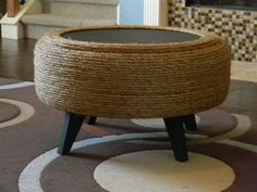 Make an ottoman out of a recycled tyre and some sisal rope - erick miller -thetadbiteclectic: The up-cycled tire