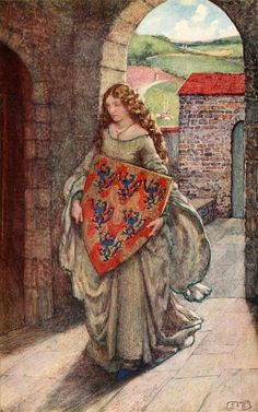 Eleanor Fortescue-Brickdale ~ Idylls of the King by Alfred Lord Tennyson ~ 1913   (Then to her tower she climb'd, and took the shield, there kept it, and so lived in fantasy.)