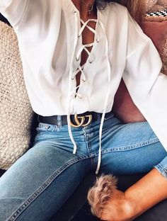 White blouse, blue denim & Gucci belt