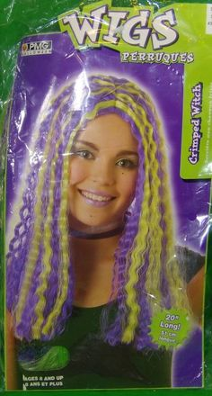 2004 PMG Halloween Wigs Crimped Witch Wig Ages 8 Purple Green Highlights | eBay Halloween Costumes For Sale, Halloween Wigs, Green Highlights, Dance Wear, Witch, Dreadlocks, Unisex, Purple, Hair Styles