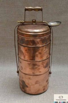 Vintage Copper Tiffin Stack Lunch Pail Carrier (1900s-1940s) :: Unique rare display piece in Turkish style. #thegodown #antique