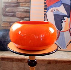 ORANGE VINTAGE MODERNIST 1960's Large California Pottery Mod Planter by ACESFINDSVINTAGE