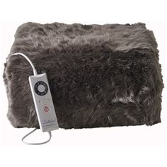 Dreamland Relaxwell 16339 Intelliheat Luxury Heated Faux Fur Throw -... (€140) ❤ liked on Polyvore featuring home, bed & bath, bedding, blankets, blue gray bedding, faux fur blanket, fake fur blanket, faux fur blanket throw and faux fur throw