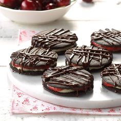 Black Forest Icebox Cookies Recipe -Keep these fun cookies on hand for whenever company arrives. The rich chocolate wafers are the perfect complement to the creamy filling's sweet-tart tones. —Taste of Home Test Kitchen Icebox Cookie Recipe, Icebox Cookies, Fun Cookies, No Bake Cookies, Cookie Recipes, Icebox Desserts, Cherry Desserts, No Bake Desserts, Easy Desserts