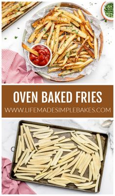 Baked french fries are lower in calories, but just as crispy and tasty! They are an easy indulgent side to make at home. #bakedfrenchfries #frenchfries #bakedfries #fries Oven Baked French Fries, Best French Fries, Easy Homemade Recipes, Easy Delicious Recipes, Tasty, Corn Dishes, Side Dishes, Creamy Pasta Bake, Homemade Sloppy Joes