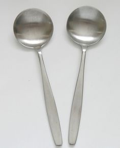 "2 Elkington Boston satin stainless steel soup spoons 6⅞"" 17.3cm vintage 1960s"