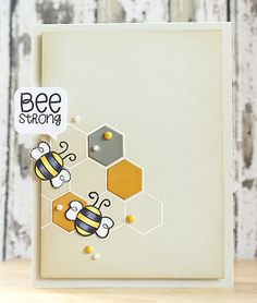 CAS bee card - Simon Says Stamp circle friends, Clearly Besotted Stamps honeycomb - bjl