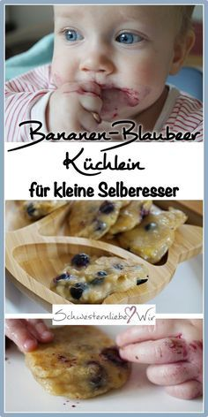 BLW // Banana Blueberry Cake for Babies - Sister Love .- BLW // Bananen-Blaubeer Küchlein für Babys – Schwesternliebe&Wir Banana blueberry – little cake for small do-it-yourselfers: a BLW-suitable recipe with only 3 ingredients. Baby Cakes, Baby Food Recipes, Cake Recipes, Baby Snacks, Banana, Blueberry Cake, Homemade Baby Foods, Little Cakes, Ideas