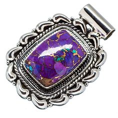 Ana Silver Co Purple Copper Composite Turquoise 925 Sterling Silver Pendant 1 12 PD560397 >>> Read more reviews of the product by visiting the link on the image.