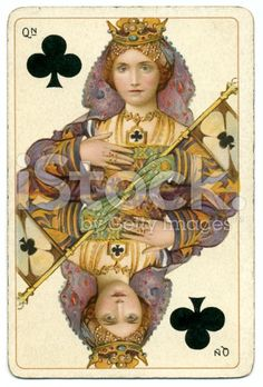 Queen of Clubs original Shakespeare antique playing card stock ...