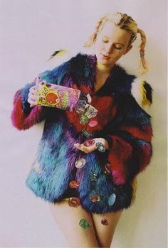 rainbow faux fur