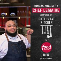 We Are Very Thrilled To Announce That On August Our Very Own Will Compete  On Cutthroat Kitchen From   So Tune In At To Watch And Show Some Love.