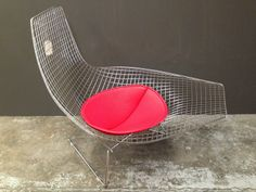 Replica HARRY BERTOIA ASYMMETRIC Matt Blatt CHAISE CHAIR RED LEATHER Mid Century