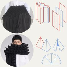 Honeycomb Pattern Structures at Junya Watanabe | The Cutting Class. Junya Watanabe, AW15, Paris, Image 4. Textile strips joined with alternating lines of stitching and pyramid pattern shapes.
