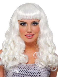 Description Long, curly, brightly- colored Katy Perry wig with chopped bangs- Ideal for any pop princess singing her suitors into submission. This wig goes beyond Halloween- It's available in 12 shocking colors and you can wear it to parties, costume
